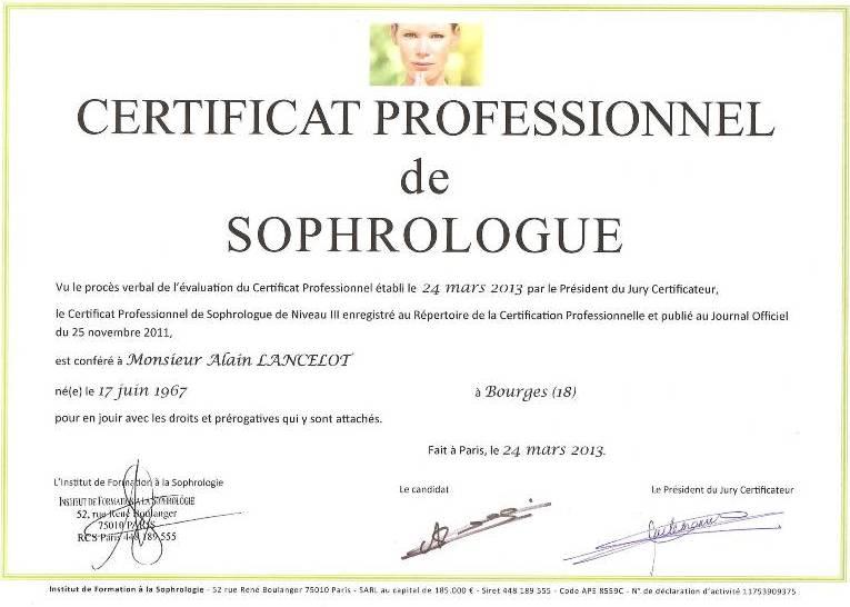 Certificat Professionnel de Sophrologue RNCP 2013